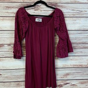 VAVA by Joy Han Bell Sleeve Maroon Dress Sz M
